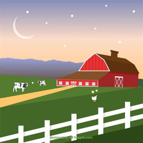 granero vector paisaje de granja con granero rojo descargar vectores gratis