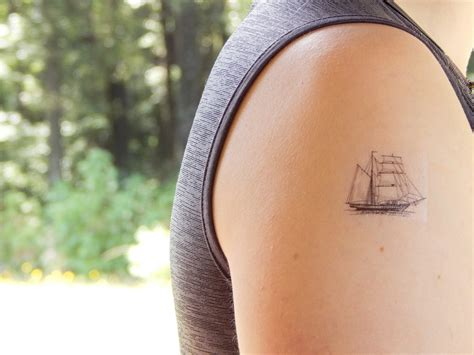 temporary tattoo ship tattoo pirate ship tattoo