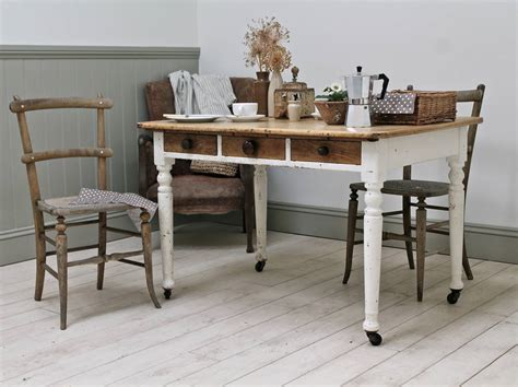 antique painted pine kitchen table by distressed but not