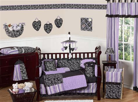 Luxury Boutique Designer Funky Purple Black White 9pc Baby Purple And Black Crib Bedding