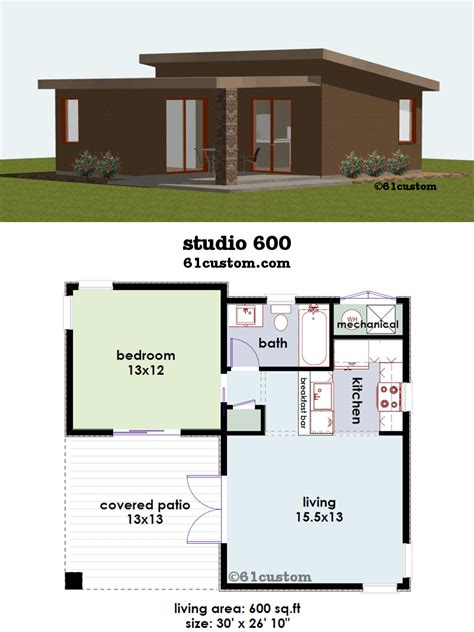 1 house plans studio600 small house plan 61custom contemporary