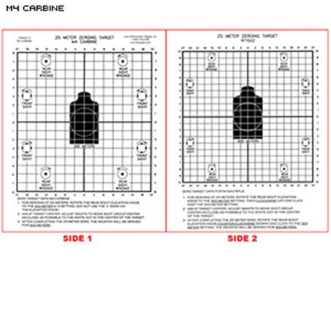 printable zeroing targets m4 law enforcement targets action target m4 m16 25 meter