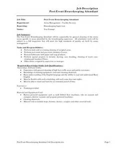 Housekeeper Resume Sles by Resume Sle Housekeeping Supervisor Ebook Database
