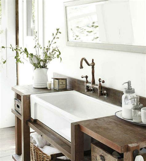 rustic farmhouse bathroom small bathrooms by style sinks vanities and tables
