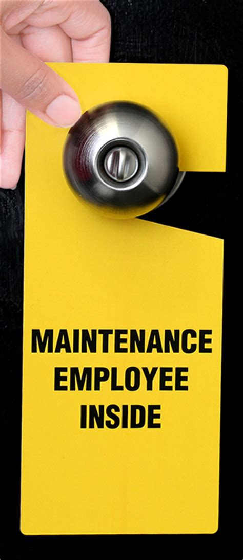 Door Knob Tags by Maintenance Employee Inside Plastic Door Knob Hang Tag