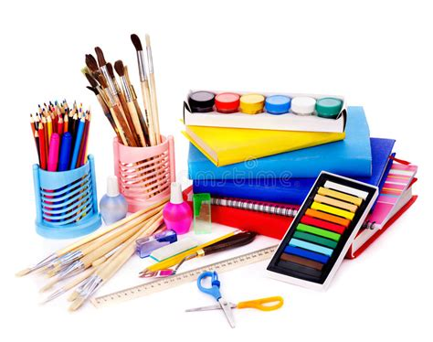 Papercraft Supplies - school supplies stock photo image of brush items