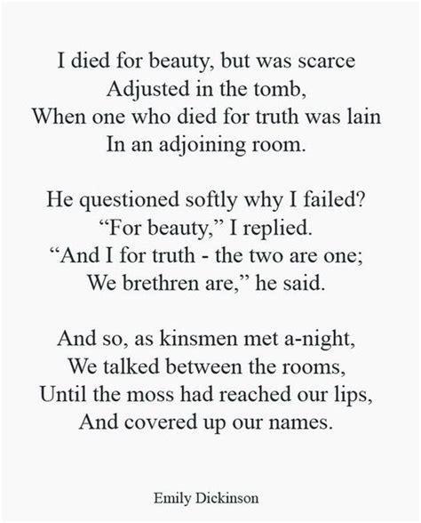 emily dickinson poetry biography i love this poem i died for beauty emily dickinson