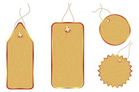 vector set of wooden labels elements 10 vector label