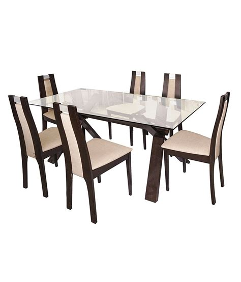 buy carlton glass top six seater dining set 6 seater glass dining set in melamine finish buy 6 seater glass dining set in melamine finish