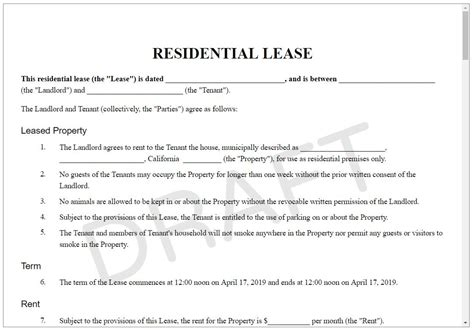 lease agreement form rental contract template  leasing