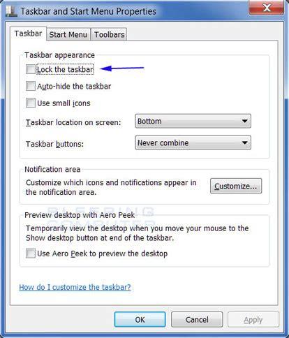 windows 7 top bar windows 7 top bar how to lock and unlock the windows 7 taskbar