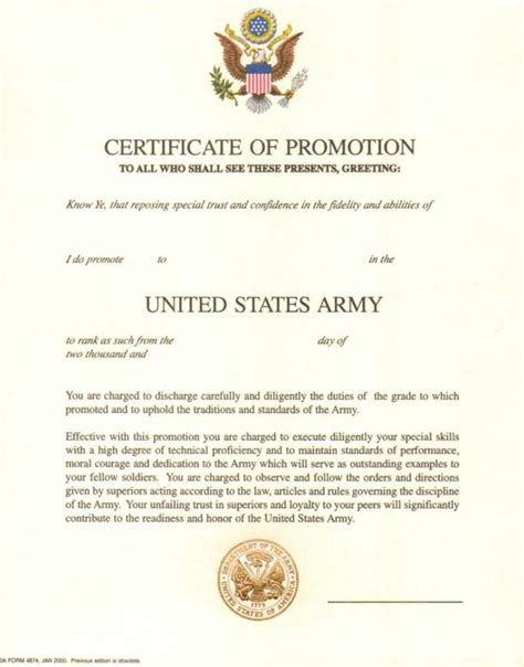 army promotion certificate template original blank u s army certificate of promotion with