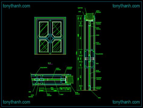 Wooden Window Cad Block Elevation Side View Front View