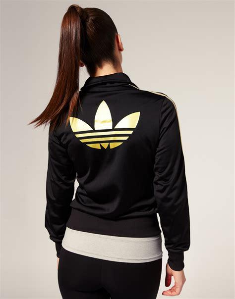 Zipper Hoodie Adidas Original Gold Logo Anime adidas gold stripe classic track jacket in black blackmetallicgold lyst
