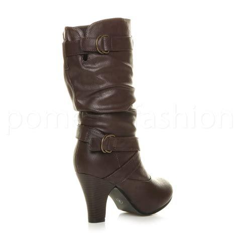 high heel buckle boots womens high block heel buckle straps smart calf