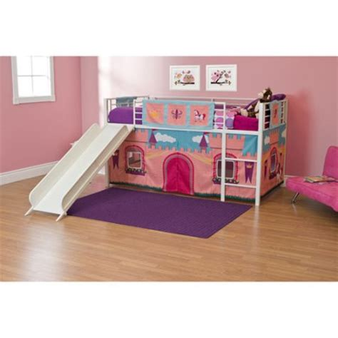 twin girls bed girls princess castle twin loft bed with slide white