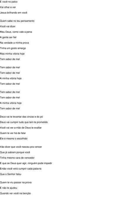 Letra Da Musica Tem Sabor De Mel