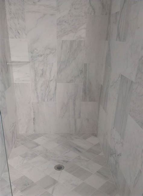 Marble Bathroom Tile Ideas calacatta white honed 12x24 and 6x6 antico stone