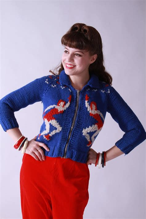 Sweater Skaters vintage 1950s sweater novelty cowichan sweater with capades skaters whimsical
