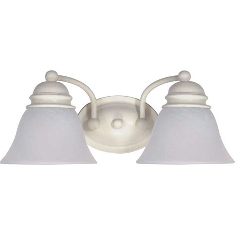 Vanity Light Shades Glomar 2 Light Textured White Vanity Light With Alabaster Glass Bell Shades Hd 353 The Home Depot