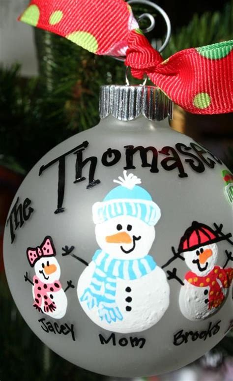 hand painted christmas ornament snow people family
