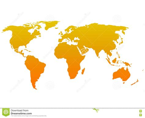 flat world map vector orange silhouette of world map simple flat vector