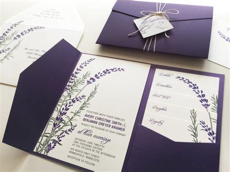 printable wedding invitation lavender lavender wedding invitation sle purple pocketfold tags