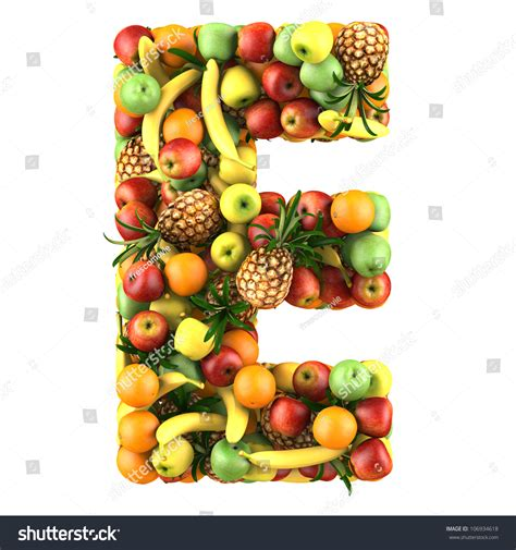 fruit with e royalty free letter e made of fruits isolated on