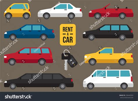 Car Hire Types Available by Vector Set Different Types Cars Rent Stock Vector