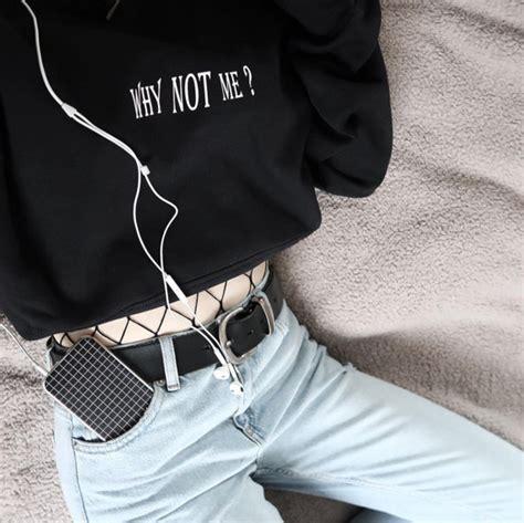 Hoodie Sweater Why Not Hitam Cloth why not me hooded black sweatshirt 90s hoodie vaporwave