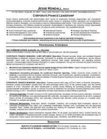 Resume Examples Finance Example Corporate Finance Resume Free Sample