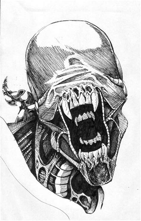 alien pen drawing by chrisbeaver on deviantart