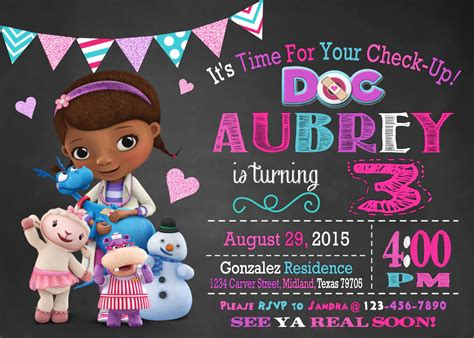 free doc mcstuffins invitation templates doc mcstuffins birthday planning ideas supplies