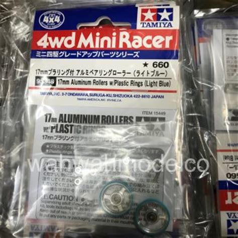 Tamiya 95327 19mm Alum Roller L Blue W Plastic Ring mini 4wd rollers archives wah wah model shop