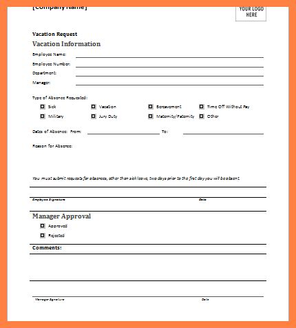 vacation request form templates 10 request form template bussines 2017