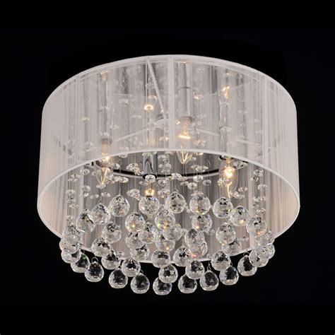 Overstock Chandelier Flushmount 4 Light Chrome And White Chandelier Contemporary Chandeliers By