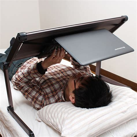 laying down in bed upside down gorone desk lets you use laptop while laying in bed daily onigiri