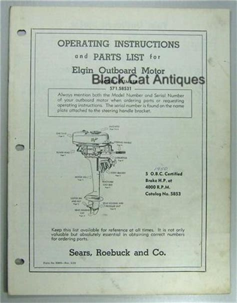 old boat owners manuals sears elgin outboard motor owners manual part list for 5