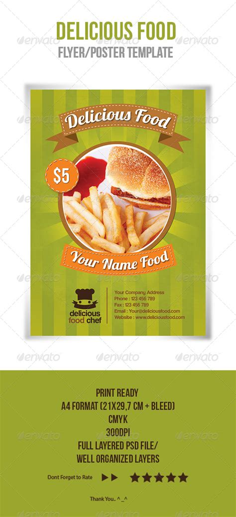 delicious food flyer template by ikaznarsis graphicriver