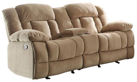 glider reclining loveseat with console laurelton taupe double glider reclining loveseat with