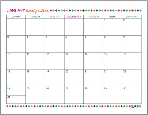 printable january 2016 day planner free printable 2016 calendar just a girl and her blog