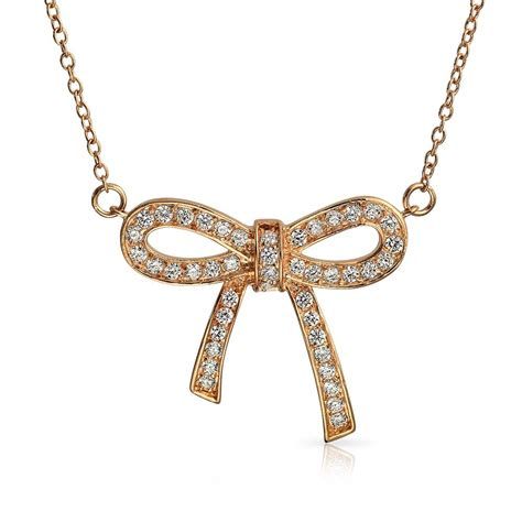 Pendant Necklace Gold With I You gold plated ribbon cubic zirconia bow pendant necklace 16in