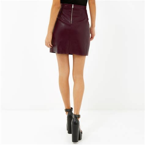 An A Line Skirt Look by River Island Burgundy Leather Look A Line Skirt In