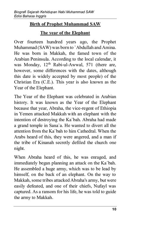 biografi sejarah kehidupan nabi muhammad  edisi bahasa