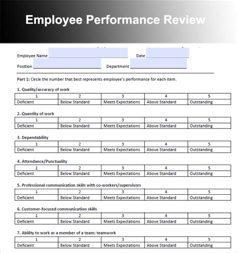 Employee Performance Evaluation Template 26 Employee Performance Review Templates Free Word Excel Formats