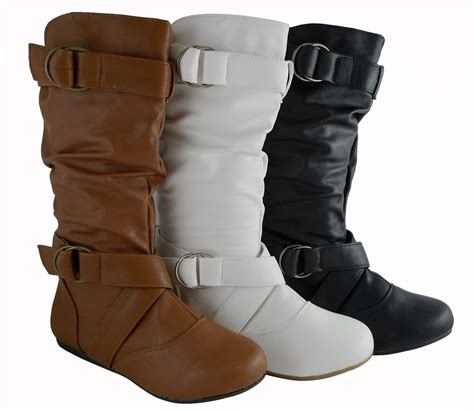 leather boots fashion fashion mid calf faux leather flat boots style