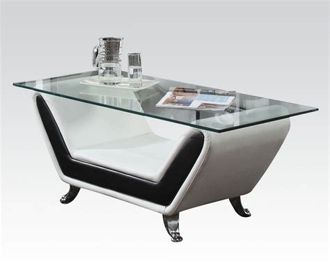Rozene Modern Glass Top Coffee Table Black White Bonded Coffee Table Black Glass Top
