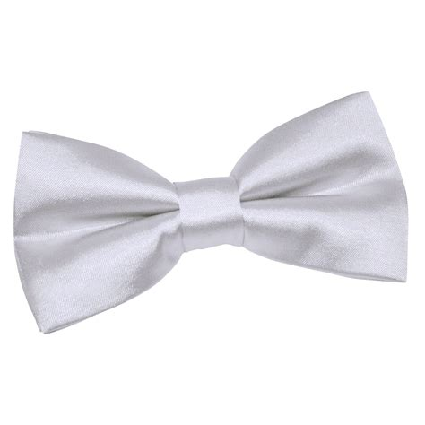 s plain silver satin bow tie