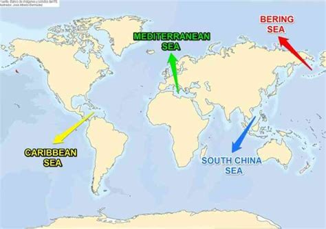 world map  seas labeled  travel information