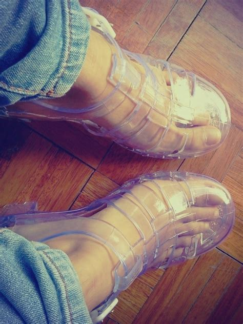 Clear Chunky Block Heel Jelly Shoes